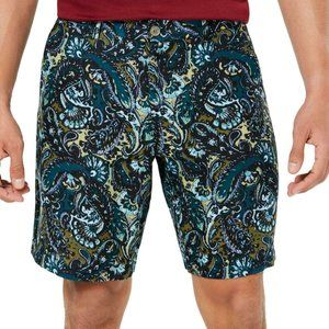 NWT Tasso Elba Paisley Print Linen Shorts 34 Blue